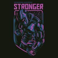 diseño de camiseta de ilustración de robot más fuerte