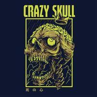 crazy skull vector illustration tshirt design