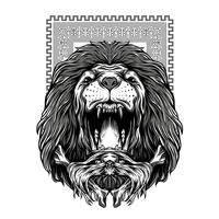 the lion roars black and white illustration tshirt design