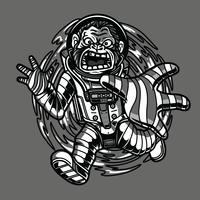 ilustração preto e branco do macaco do espaço camiseta