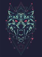 conception de tshirt illustration vectorielle géométrique loup