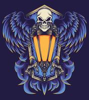 skull flying poster illustration