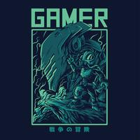 alien gamer vector illustration tshirt design
