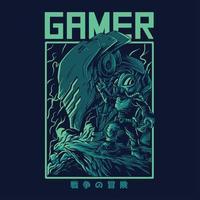 progettazione della maglietta dell'illustrazione di vettore del giocatore alieno
