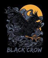 design de camiseta de ilustração vetorial de corvo preto