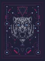 testa di tigre illustrazione vettoriale colorato