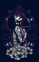 design de camiseta de ilustração vetorial de mulher
