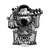 hockey in bianco e nero illustrazione design tshirt