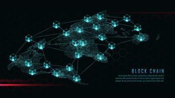 Blockchain met wereldwijd verbindingsconcept