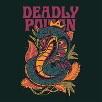 diseño de camiseta de ilustración vectorial cobra
