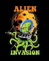 illustration de l'invasion extraterrestre poulpe