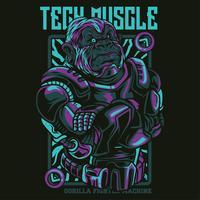gorilla robot illustration tshirt design vector