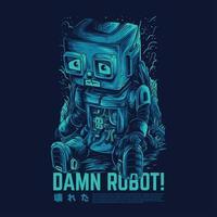 damn robot vector illustration tattoo design