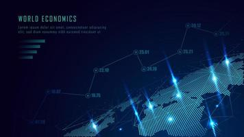 Världskarta med graf i futuristiskt koncept