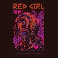 red girl vector illustration tattoo design