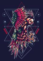 desenho de tatuagem de ilustração vetorial geométrico de coruja