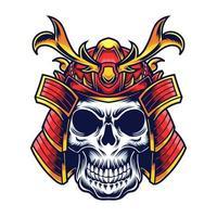 samurai head vector illustration tattoo design