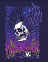 Diseño de camiseta de ilustración de vector de alas de cráneo