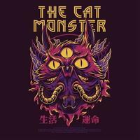 Diseño de camiseta de ilustración de vector de monstruo gato