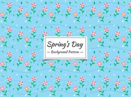 Spring pink floral seamless pattern on blue background