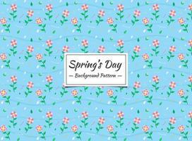 Modello senza cuciture floreale rosa della primavera su fondo blu