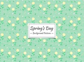 Spring yellow floral pattern with green background