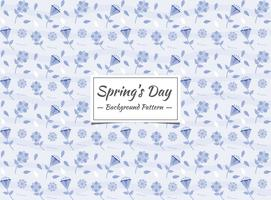 Spring floral blue seamless pattern