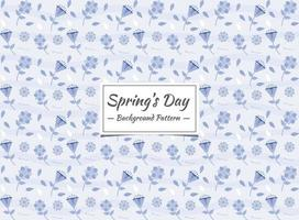 Modello senza cuciture blu floreale della primavera