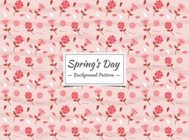 Spring seamless pattern with red and pink flowers