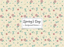Spring seamless pattern with geometric flowers and leaves