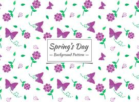 Spring seamless pattern with purple flowers
