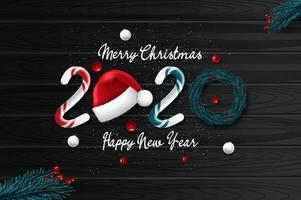 Carte de nouvel an 2020 avec fond de Noël
