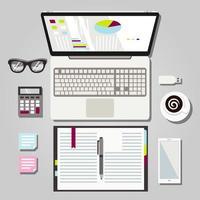 Illustration graphique d'un espace de travail pour ordinateur portable