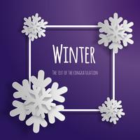 Snowflakes 3d, paper cut frame vector