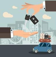 Empresario sosteniendo la llave del coche con mini coche