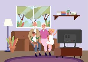 Nonni e nipoti seduti sul divano