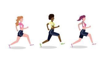 Conjunto de mujeres practicando correr