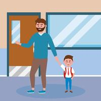 Father with beard holding hands with son at school