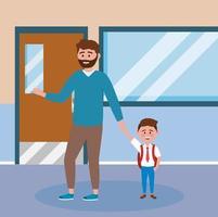 Bringen Sie mit dem Barthändchenhalten mit Sohn in der Schule hervor