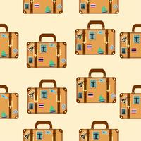 suitcase with stickers pattern vector