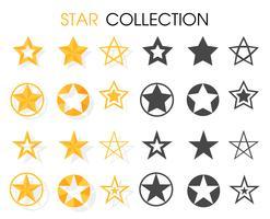 Icono de estrella Varias formas Para calificaciones gratificantes. vector