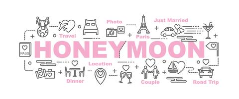 honeymoon banner with line art icons