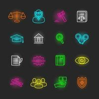 law neon icon set