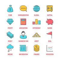 icone di linea di affari vettoriale con colori piatti