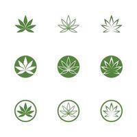 Diseño de icono de ilustración de vector de hoja verde de Canabis