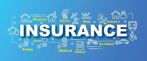insurance banner with line art icons
