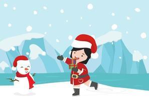 Garota do Papai Noel com o Pólo Norte do inverno no Ártico