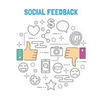 thumb up and thumb down outline vector with social application icons