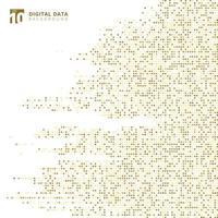 Fondo astratto del pixel del modello dell'oro del quadrato di dati digitali di tecnologia