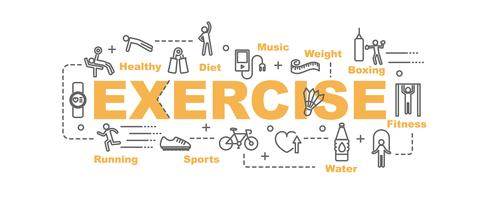exercise banner with line art equipment and fitness icons